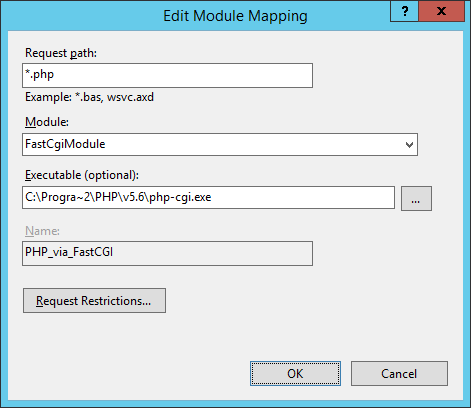 Screenshot: IIS Manager Module Mappings