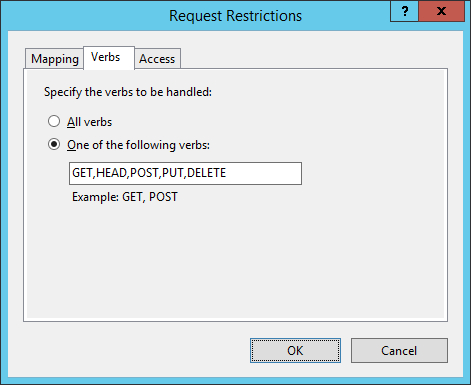 Screenshot:IIS Manager - Request Restrictions