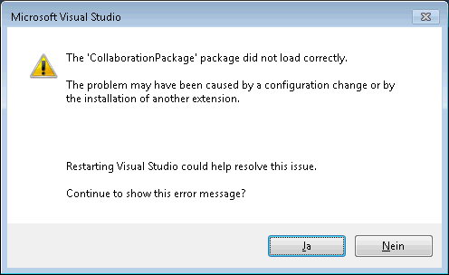 Screenshot: Visual Studio 2015 Update 1 Error